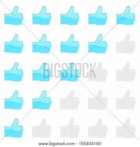 Rating thumbs up panel. Customer review, vote navigation bar. Vector satisfaction, like level symbol. Vector illustration