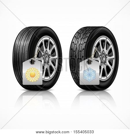 Season different car black new rubber wheels on white background. Tyres and wheels with season protect concept. Vector illustration