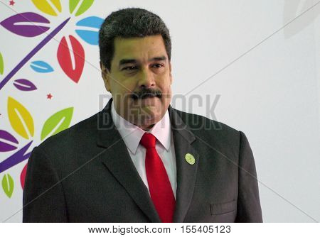 Porlamar Venezuela. September 17th 2016: Venezuelan President Nicolas Maduro before the opening ceremony at the Non-Aligned Movement summit in Porlamar Margarita Island Venezuela