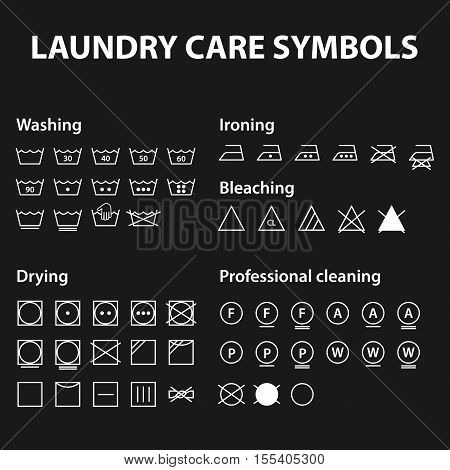 Icon set of laundry symbols. Washing instruction symbols. Cloth, Textile Care signs collection. Vector illustration