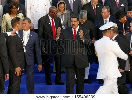 Porlamar Venezuela. September 17th 2016 - Presidents of Delegations pose for the official photograph in the 17th Summit of the Non-Aligned Movement in Porlamar Margarita Island Venezuela on September 17 2016.