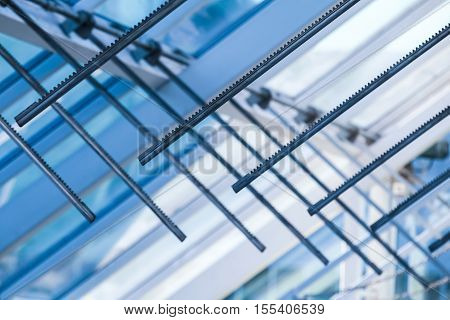 Opening Drive Racks. Abstract High-tech Roof
