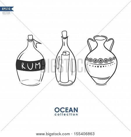 bottle of rum, letter in a bottle and antique amphora isolated on white, vector sketch