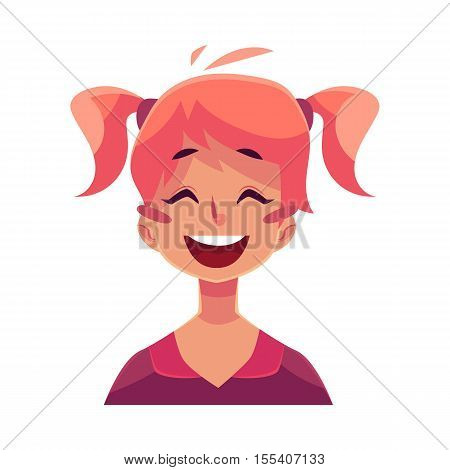 Teen girl face, laughing facial expression, cartoon vector illustrations isolated on white background. Red-haired girl emoji face laughing out load, closed eyes and open mouth. Laughing expression
