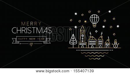 Gold Christmas And New Year Line Art City Banner