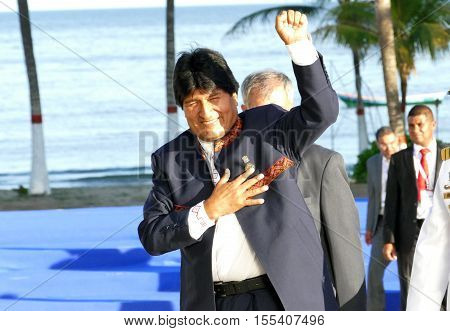 Porlamar Venezuela. September 17th 2016 - President of Bolivia Evo Morales at the 17th Summit of the Non-Aligned Movement at Margarita Island in Porlamar Venezuela on September 17 2016.