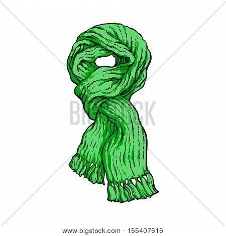Bright green slip knotted winter knitted scarf with tassels, sketch style vector illustrations isolated on white background. Hand drawn fluffy woolen scarf tied in slip knot, winter accessory