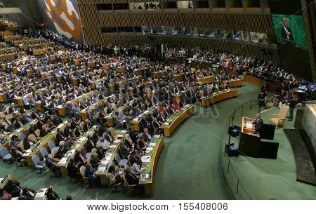 Us President Barack Obama Holds A Speech, The General Assembly Of The United Nations