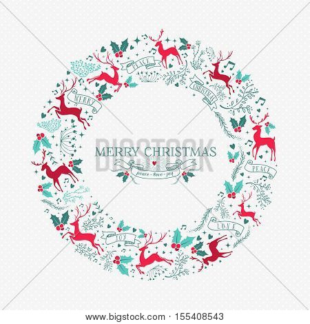 Retro Christmas Wreath Decoration With Ornaments