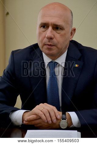 Chisinau Moldova. October 6th 2016 - Prime minister of Moldova Pavel Filip during the meeting