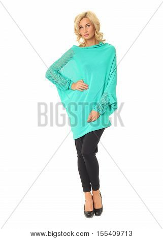 Blond Fashion Model Girl Stand In Turquoise Tunic Isolated