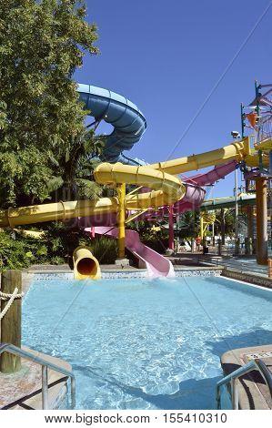 Aquatica waterpark Orlando Florida USA - October 23 2016: Walkabout Waters adventure slides in Aquatica waterpark