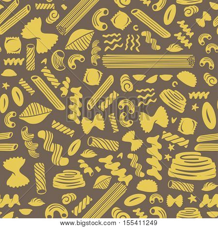 Pasta seamless pattern on brown background.