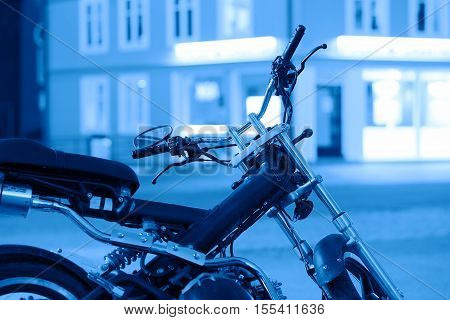 Blue moto bike in Tromso background hd