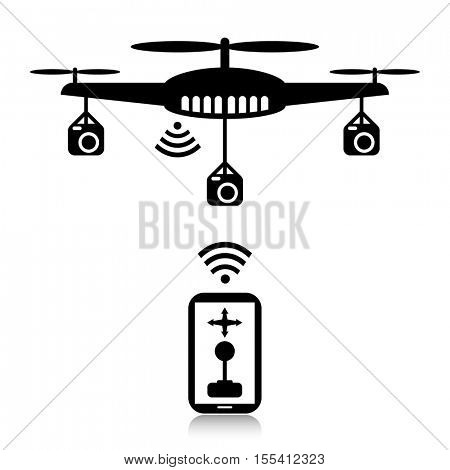 Smart phone controlling a drone equipped with cameras.