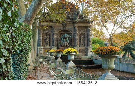 The Medici fountain is a monumental fountain in the Jardin du Luxembourg in the 6th arrondissement of Paris. It was built in about 1630 by Marie de Medici.