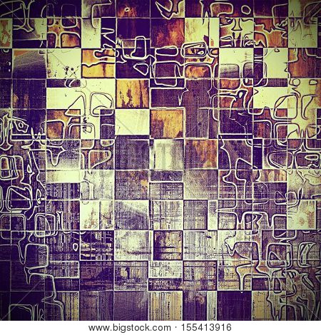 Geometric vintage frame, grunge background with old style decor elements and different color patterns: yellow (beige); brown; red (orange); purple (violet); pink