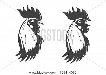 Rooster s head set. Symbol of 2017 on the Chinese calendar. Vector EPS8 illustration.