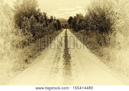 Norway countyside road in sepia background hd