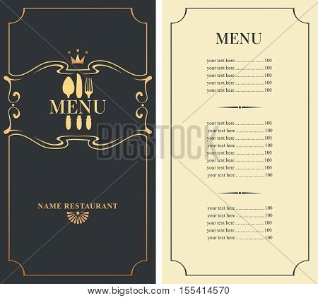 template menu with price with cutlery fork spoon and knife