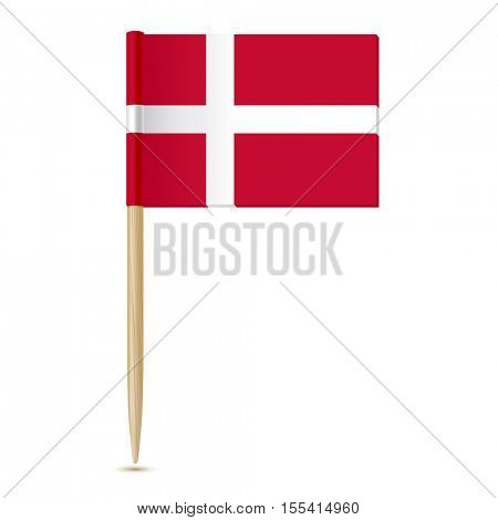 Denmark Flag. Flag toothpick 10eps. Isolated on white background