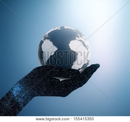 Abstract space hand with terrestrial globe in palm on blue background. 3D Rendering