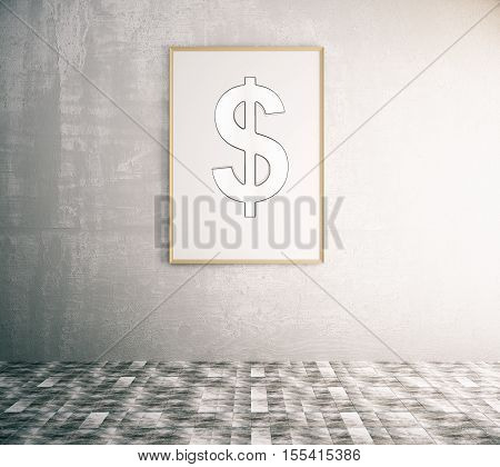 Picture frame with dollar sign in interior. Money concept. 3D Rendering