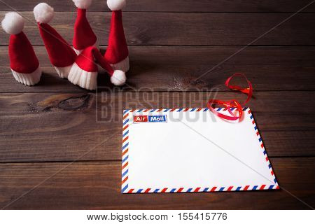 Letter to Santa Claus. Hats and writing.