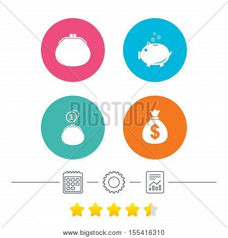 Wallet with cash coin and piggy bank moneybox symbols. Dollar USD currency sign. Calendar, cogwheel and report linear icons. Star vote ranking. Vector