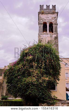 Belfry Orthodox church on the island of Corfu in Greece