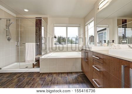 White Modern Bathroom Interior In Brand-new House.