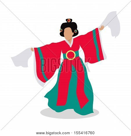 Eastern dancer isolated. Folk dance concept flat design. Arabic dancer. Azerbaijan dancing in traditional culture costume. Girl perform in national cloth. Body dancer. Lady in colorful dress. Vector