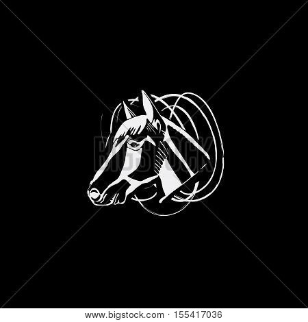 Logotype, emblem, sign, symbol, insignia of horse head. Stencil, linocut, engraving style. Monochrome, black and white. poster