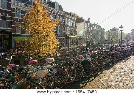 Utrecht Netherlands - October 23 2016: Bicycles parked along the Oude Gracht in the historic center of the city of Utrecht