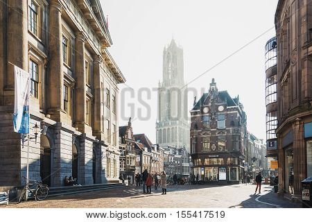 Utrecht Netherlands - October 23 2016: The Dom Tower in the historic center of the city of Utrecht