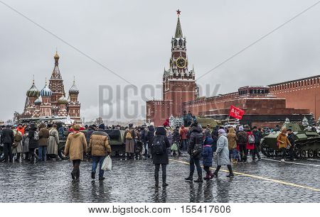 Moscow Russia - 7 November 2016: Exhibition of military equipment during the war in red square.