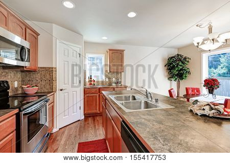 Kitchen Room In Brown And White Colors