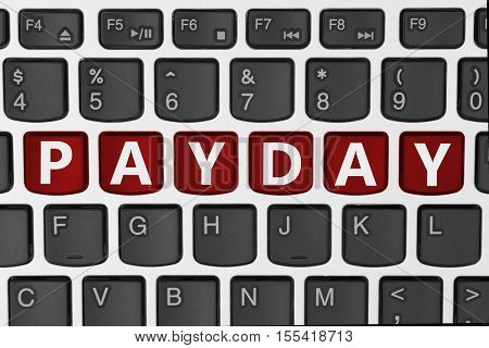 Getting paid for your online business A close-up of a keyboard with red highlighted text Payday