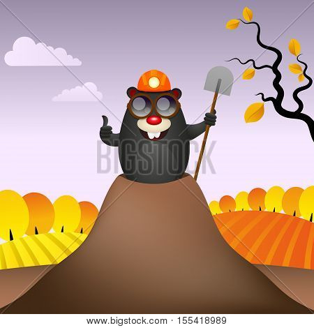 Funny mole digs lucky smiling vector illustration.