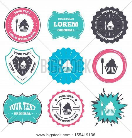 Label and badge templates. Eat sign icon. Dessert trident fork with muffin. Cutlery symbol. Retro style banners, emblems. Vector