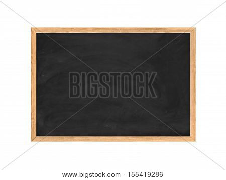 3d rendering of a new black chalkboard in the wooden frame isolated on a white background. Education system. School supplies. Seminars and conferences. Elimination of illiteracy. Professional development.