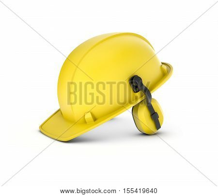 3d rendering of a yellow hard hat with headphones isolated on a white background. Helmet for wearing at industrial or construction sites. Protection head from injury.