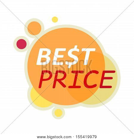 Sale sticker vector illustration. Flat style. Round bright sticker with best price text. For store goods sales and discounts advertising. Product label design. Black friday. On white background