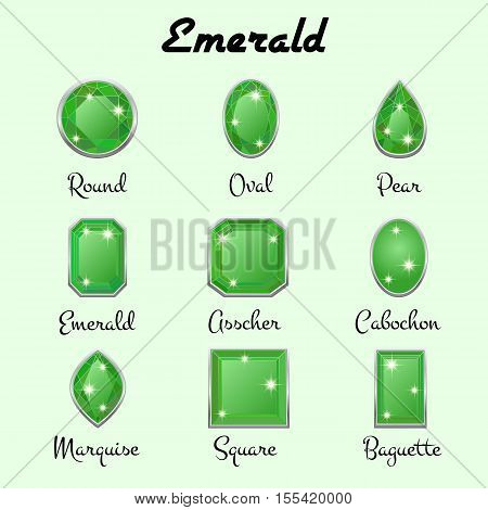 Set of different types of cuts of precious stone Emerald in realistic shapes in green color with silver edging. Vector illustration
