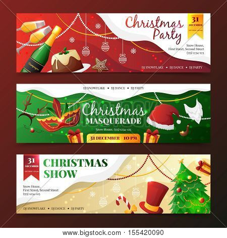 Colorful flat design christmas party and masquerade invitation banners with new year symbols isolated on dark background vector illustration