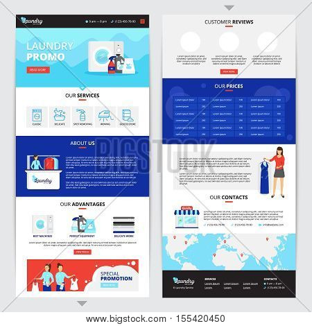 Laundry service vertical web page set with prices and contacts symbols flat isolated vector illustration