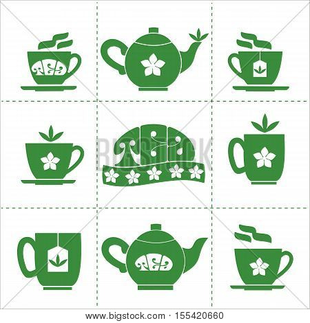 Tea time concept.Green Tea house or shop logo. Cup, mug, pot with green jasmine hot drink. Cafe menu, restaurant or bar decoration. Jasmine flower, tea leaves.Vector illustration