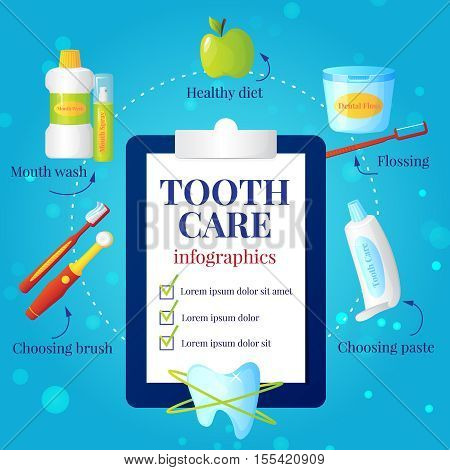 Dental care infographic set with choosing brush and paste symbols flat vector illustration