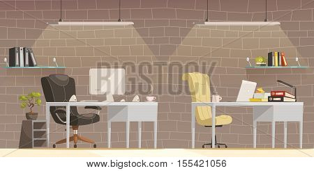 Modern lighting design solutions for offices comfortable and creative workspace environment cartoon poster brick wall background vector illustration