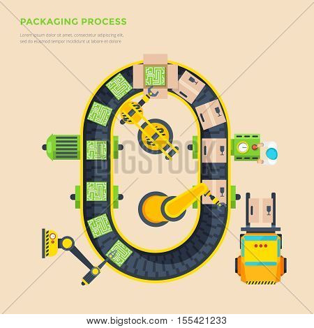 Packaging line top view poster with automatic conveyor and micro scheme boxing process flat vector illustration